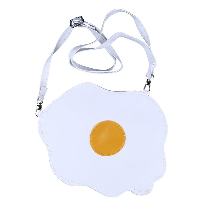 Women Gilrs Cute Egg Sweetie Shape Bolsa Fashion Student Soft Thin PU Leather Crossbody Messenger Bag