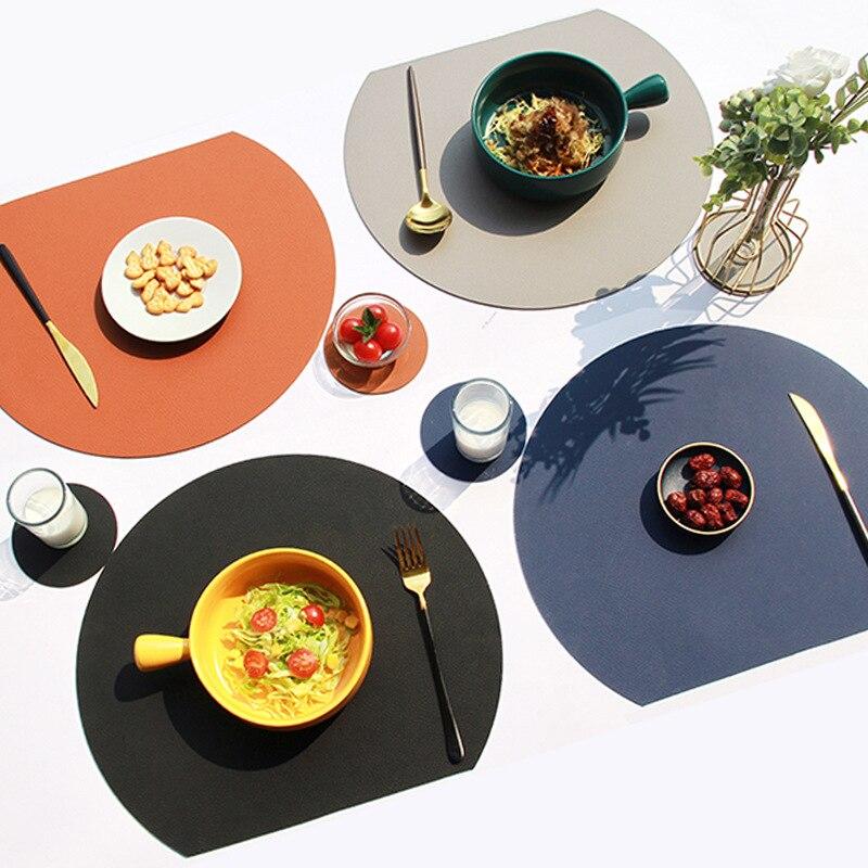 Подставка под столовую посуду, набор подставок, Полукруглая, с подогревом, нескользящая, Кожаная подставка под столовую