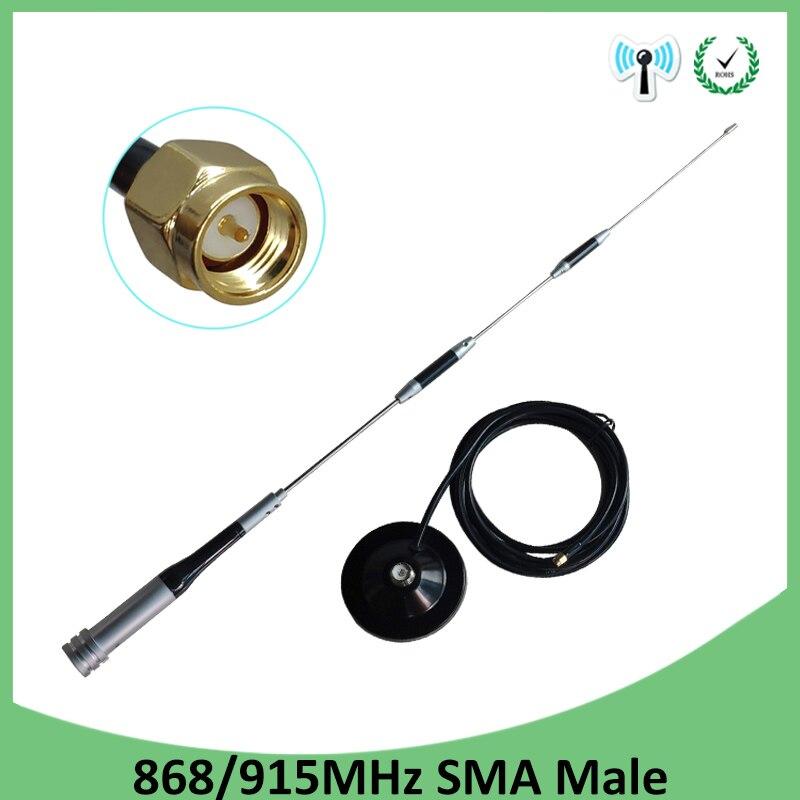Antenne GSM 868MHz 915 mhz antenne 10dbi SMA connecteur mâle 868 mhz 915 mhz antenne à ventouse avec antenne de câble d'extension 3M