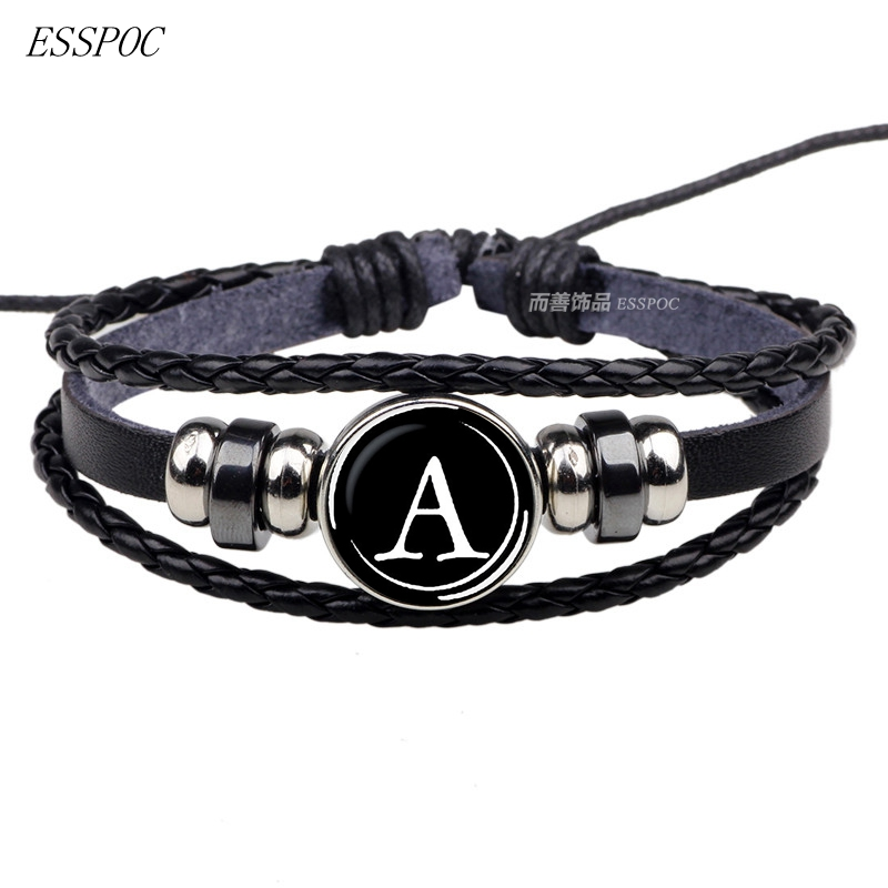 26 Letters Bracelet Personality Team Name Rope Bracelet Black Leather Bracelet Button Bangle Men Women Fashion Birthday Gifts