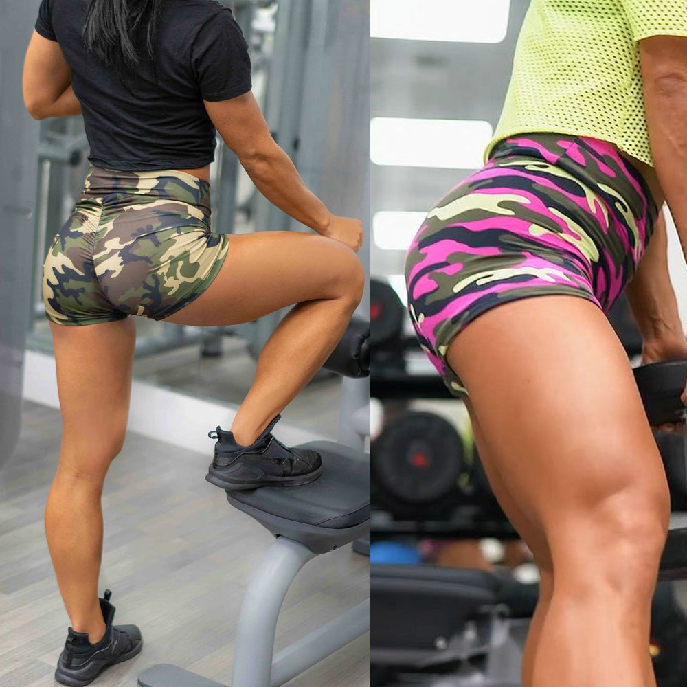 Camouflage Print Short Leggings 2019 Women Fitness Push Up Legging Sexy Fashion Casual High Waist Woman Lift The Hips Leggings
