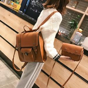 Image 2 - 2 unids/set de mochilas de cuero para mujer, mochila para chica adolescente, mochila para mujer, bolsas de viaje de Pu de gran capacidad, bolso escolar Vintage