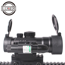 цена на LUGER Tactical  Optic Sight  Rifle Scope Red Dot Sight With Red Laser Combo Riflescope 20mm Rail Air Gun Scope