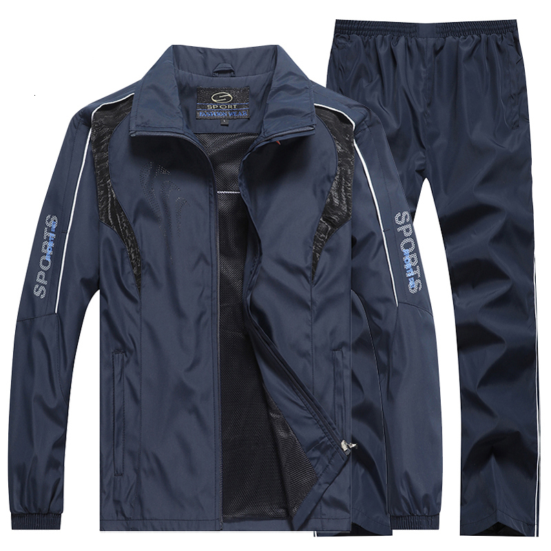 2PCS Men Tracksuit Sport Jacket+Pants Casual Sport Jogging Athletic Trainer Suit