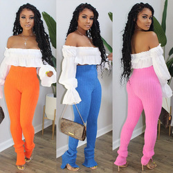 Sexy Women Two Piece Set Off shoulder Slash Neck Pulf Sleeve Top+  Stretch Knitted Trousers Jogger Autumn Suit