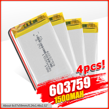 3.7V 1500mAh 603759 Lipo Battery Lithium Polymer Li-Po li ion Battery Lipo cells For Toy MP3 MP4 GPS Speaker
