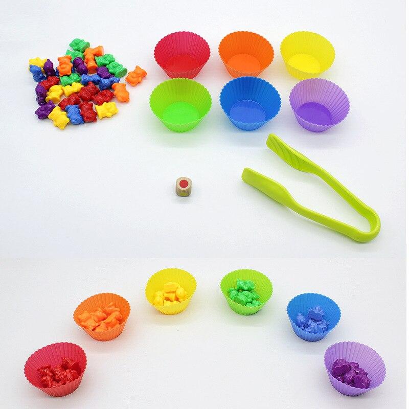 1 Набор радужных весовых счетчиков медведей со штабелирование чашек Монтессори обучающая игра Сортировка обучающие игрушки для детей