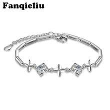 Fanqieliu Extend Chain 925 Sterling Silver Bracelets For Women 5A Cubic Zirconia Bracelet Charm Flower Crystal Bangle FQL20153 homod charm heart shape bracelet 65mm cubic zirconia silver color smooth brand bracelets