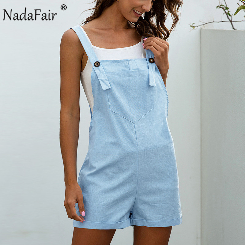Nadafair Overalls For Women Black Spaghetti Strap Loose Casual Solid Summer Playsuits Female Short Jumpsuit