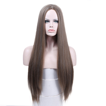 MANWEI Blonde Wigs Long Straight Hair Synthetic Lace Front Wig