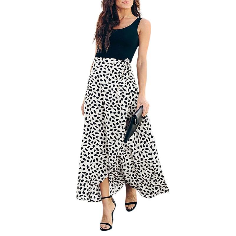 Fashion Ladies Skirts Casual Retro Bud Wave Polka Dot Printed Split Decoration Long Skirt