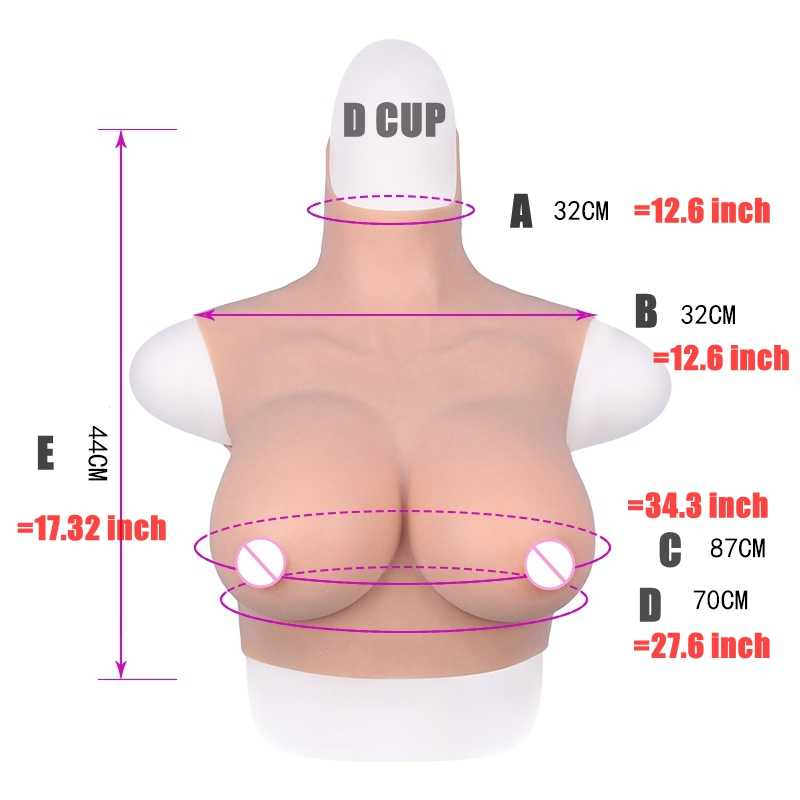 D 컵 짧은 높은 칼라 목 가짜 인공 가슴 현실적인 실리콘 유방 양식 Crossdresser 쉬 메일 트랜스 젠더 드래그 퀸 4G