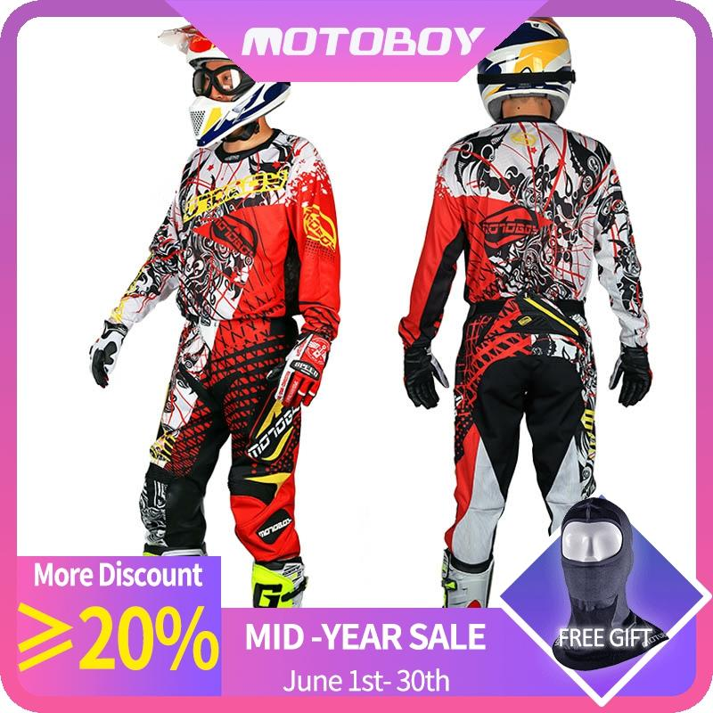 Motoboy Men's Professional Offroad Motocross Racing Polyester Sports Jersey Tshirt Pant Suit Set With Colored Printing Fast Dry