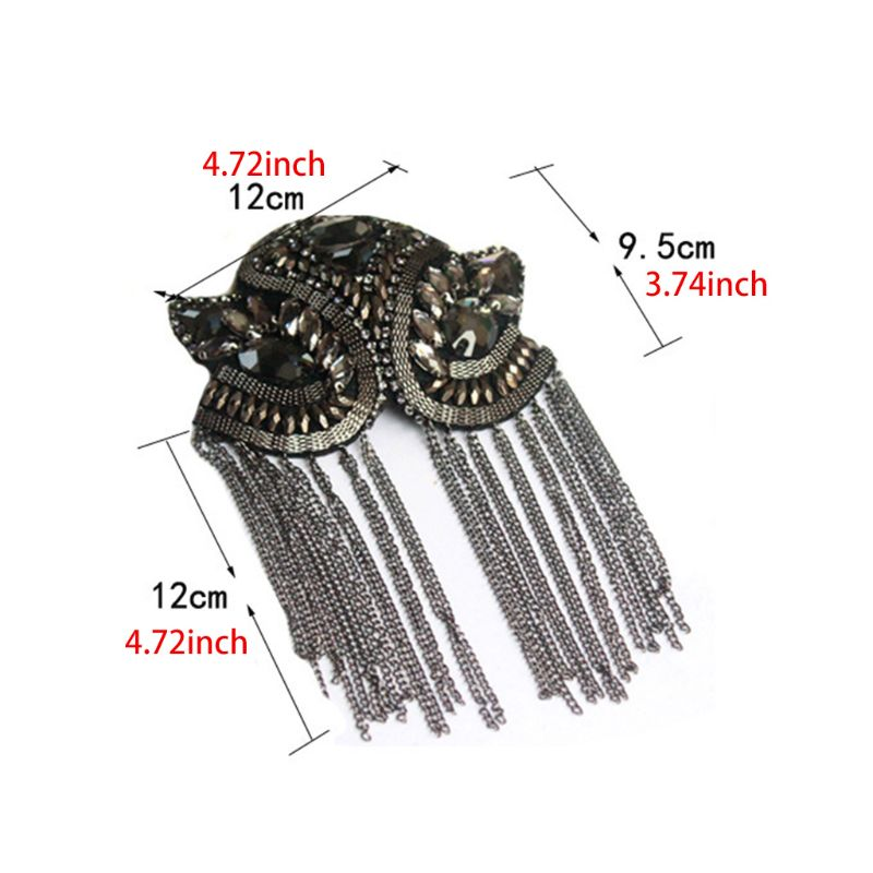 Women Kids Handmade Shoulder Badge Rhinestone Beaded Metal Tassels Epaulettes H37C