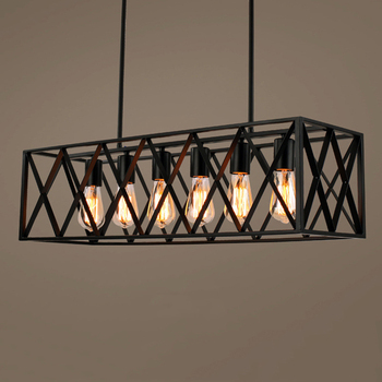 6 heads Industrial chandelier retro loft bar restaurant shop Internet cafe light clothing store pendant lamp ceiling lamp creative industrial wind style pendant light personality retro rope iron cage pendant lamp for restaurant bar clothing store