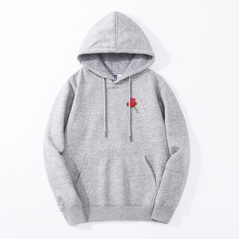 2019 Autumn New Style Japanese Aesthetic Rose Hoodies Men Harajuku Casual Warm Fleece Sweatshirt Male Hip Hop Fitness Streetwear