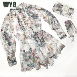 Женский пляжный костюм из 100% натурального шелка, романтичный плиссированный комбинезон с оборками и длинным рукавом, весна-лето 2020