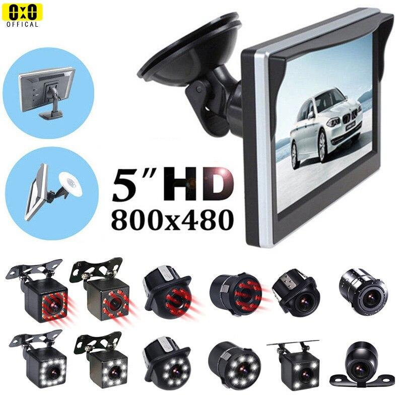 Автомобильный монитор 5 дюймов зеркало заднего вида монитор автомобиля заднего вида резервного копирования Камера светодиодный инфракрас...