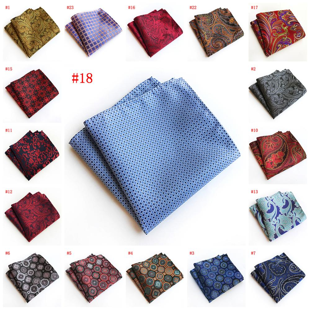 2019 Men's 25*25CM Silk Handkerchief Paisley Plaid Pocket Square Fashion Men Hanky For Wedding Party Chest Towel
