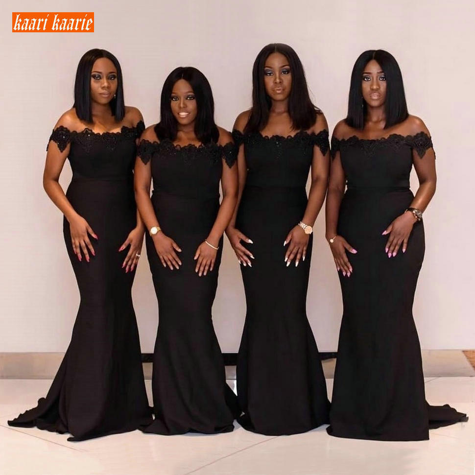 Africa Black Mermaid Bridesmaid Dresses Off Shoulder Lace Applique Beaded Maid of Honor Dress Satin Custom Wedding Party Gowns