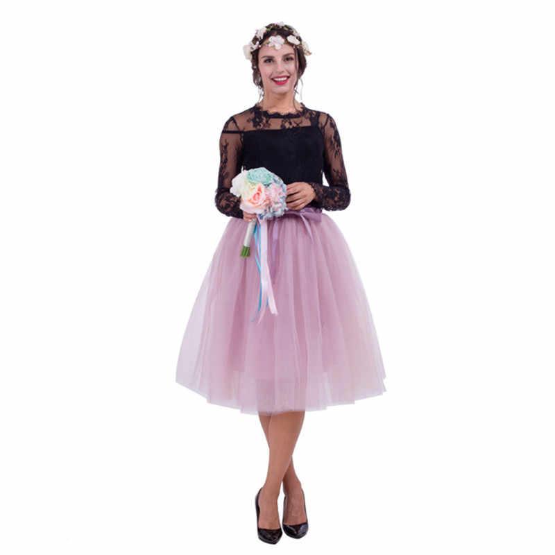 5 couches Tulle Jupe femmes été robe de bal Midi jupes femme taille haute Tutu plissé Faldas pour les femmes école soleil Jupe