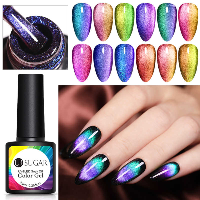 UR GULA 9D Chameleon Magnetic Gel Nail Polish Set Tahan Lama Laser 7.5ml Cat Eye Nail Art Gel Rendam off UV LED Gel Varnish