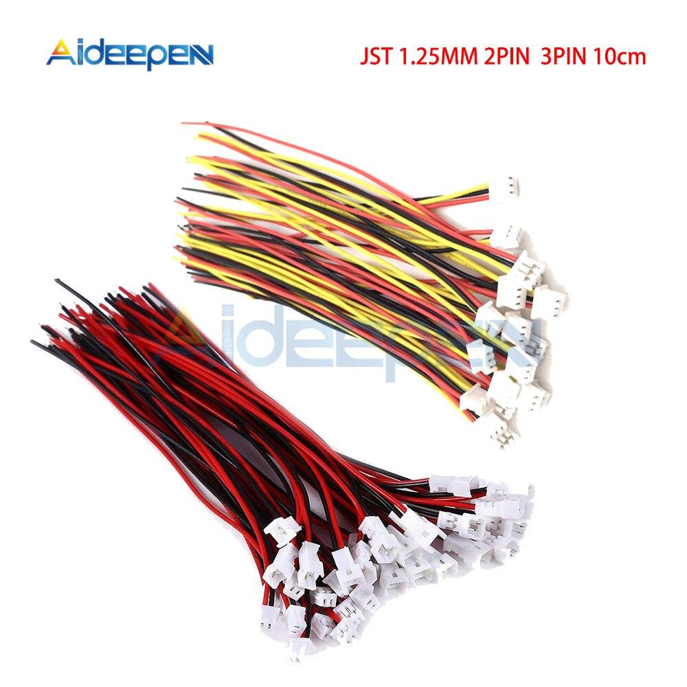 5 шт./лот JST 2Pin 3Pin 1,25 мм провод кабель соединитель JST 1,25 мм Мужской Женский вилка соединителя разъём 10 см кабельные барабаны