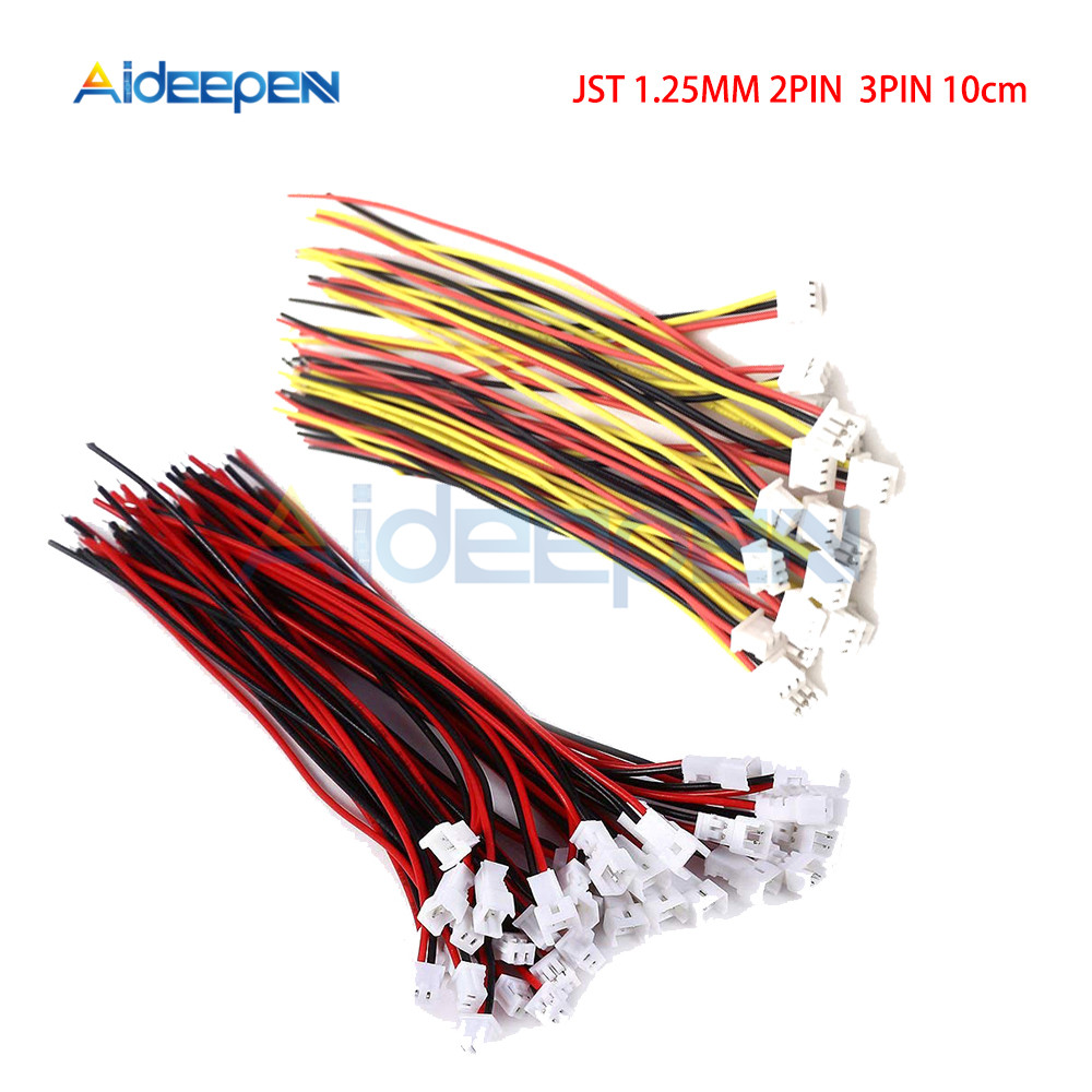 5PCS/Lot JST 2Pin 3Pin 1.25mm Wire Cable Connector JST 1.25mm Male Female Connector Plug Connector 10CM Wires Cables