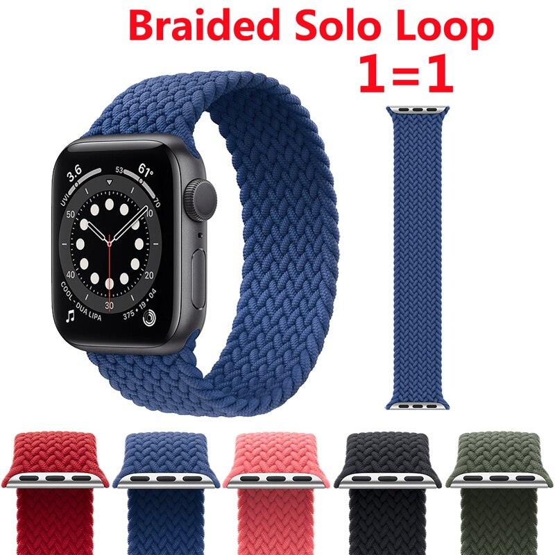 Ремешок соло Плетеный для Apple Watch Band 44 мм 40 мм 38 мм 42 мм, нейлоновый тканевый официальный браслет для iWatch 6 SE 5 4 3 2 1, 1:1