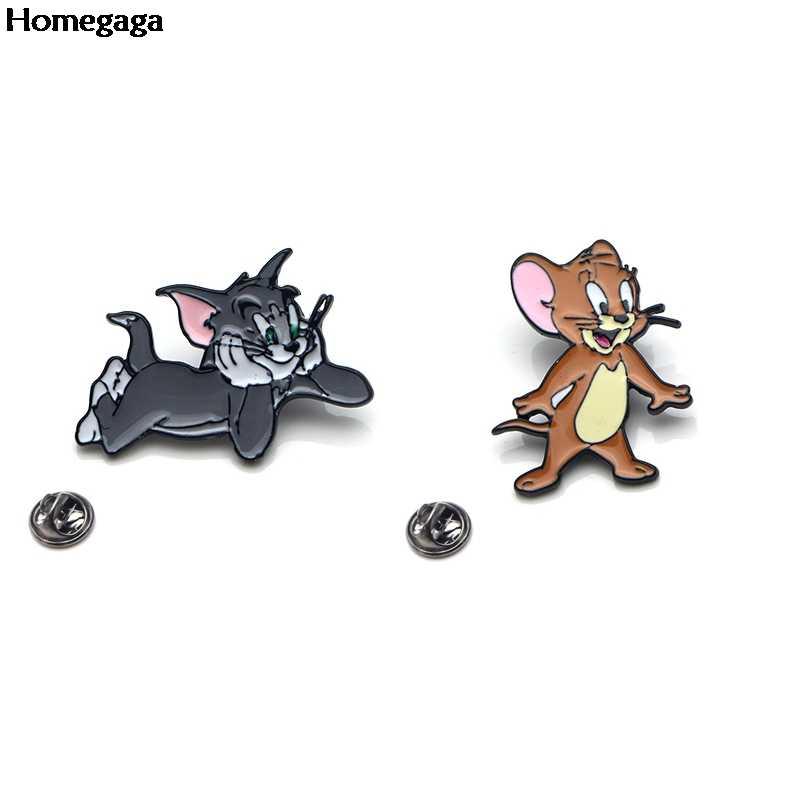 Homegaga 고양이와 마우스 아연 합금 넥타이 핀 배지 파라 셔츠 가방 의류 배낭 신발 브로치 배지 메달 장식 D1515