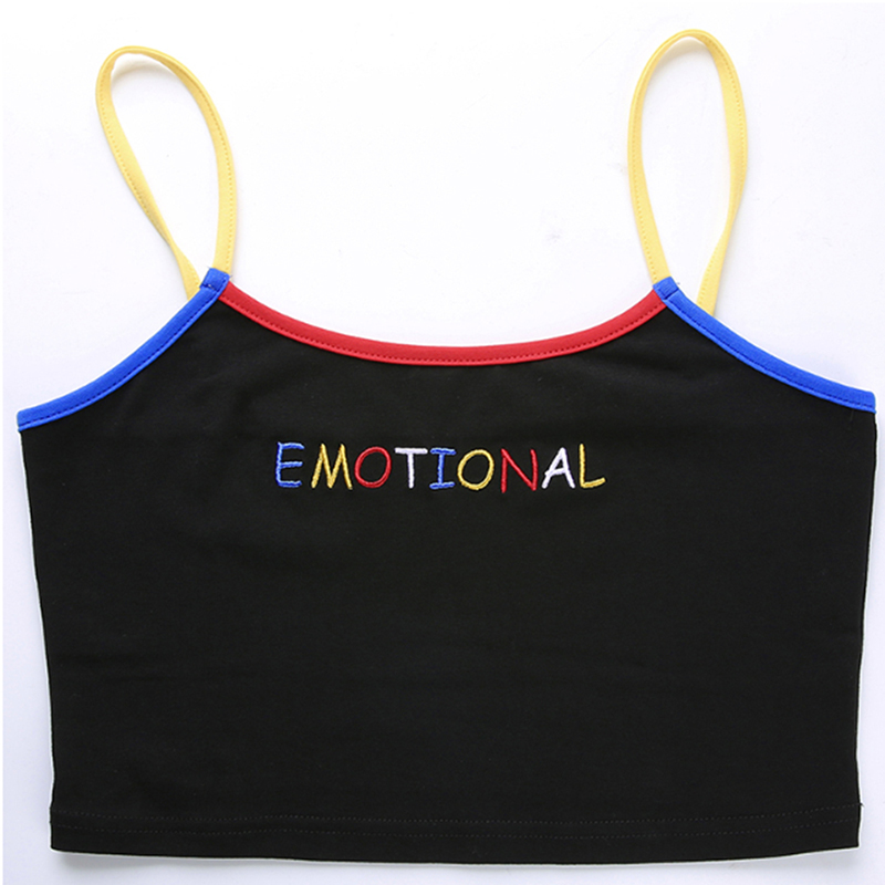 He4051e0d2d1e4b478701fad0c4f9668ee - Summer Women Crop Top Cropped Ladies Spaghetti Strap Elastic Camisole Sexy EMOTIONAL Letter Embroidery Tank Tops
