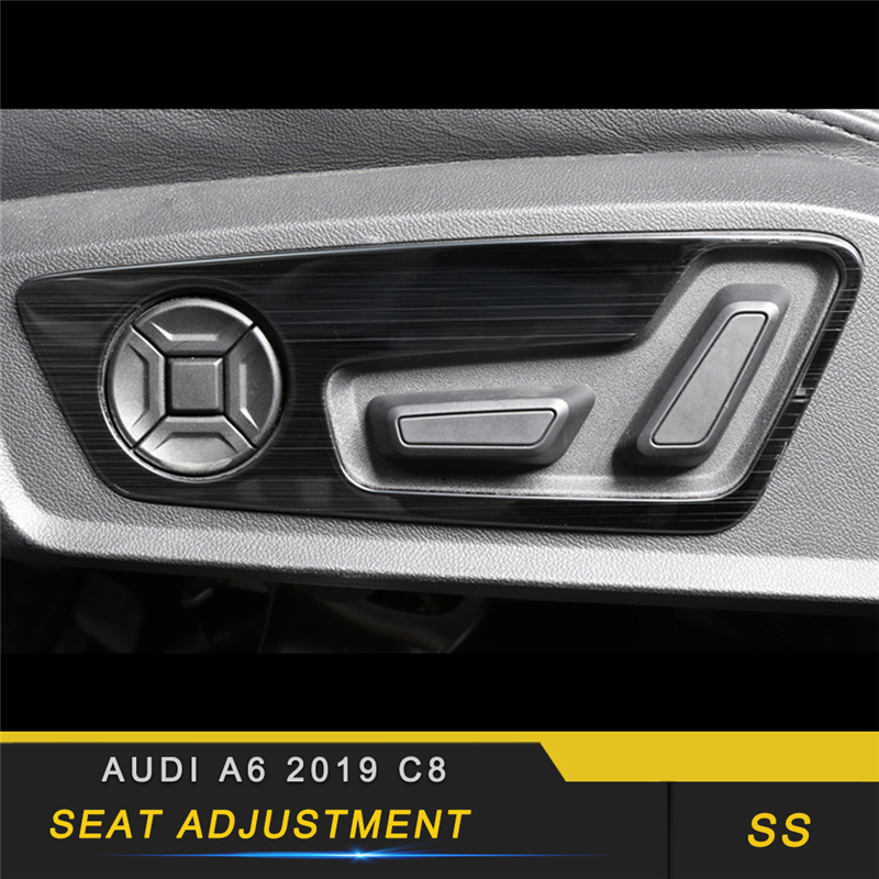 For Audi A6 C8 2019 Car Styling Seat Adjust Memory Button Switch Panel Cover Trim Frame Sticker Interior Accessories