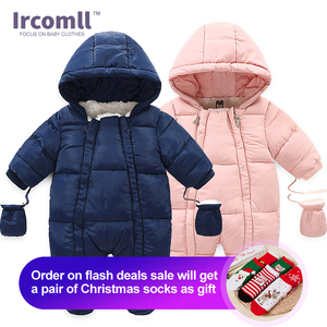 Image 1 - Ircomll Warm Infant Baby Jumpsuit Cotton Down Rompers Hooded Inside Fleece Boy Girl Winter Autumn Overalls Children Outerwear