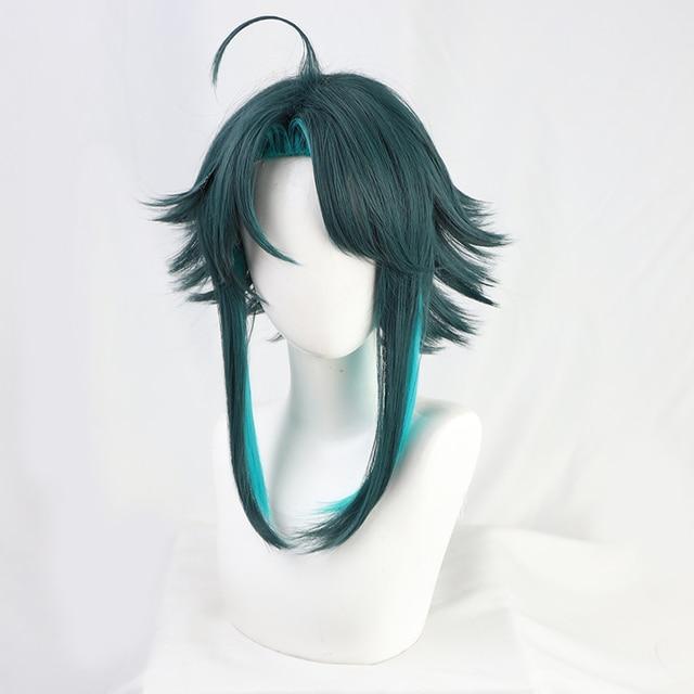 Genshin Impact Xiao Wig Cosplay Mixed Dark Green Blue Short Heat Resistant Hair Adult Halloween Role Play    - AliExpress