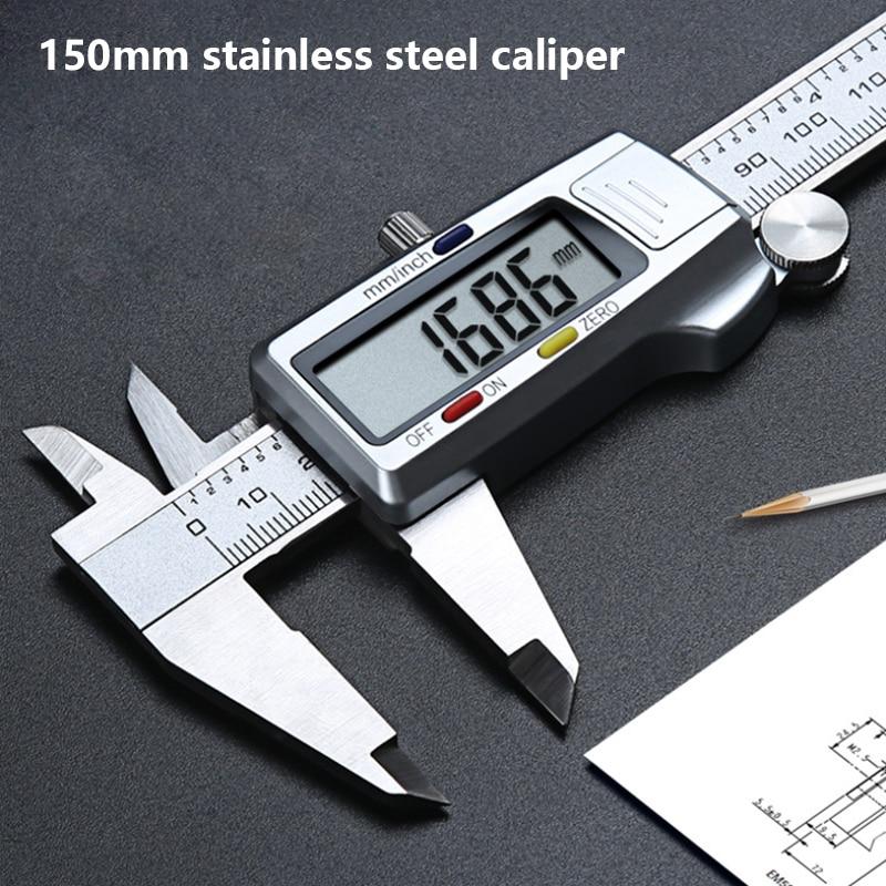 Calibre eletrônico do calibre de medição do pachômetro do metal 0-150mm caliper digital de aço inoxidável mm/polegadas vernier caliper