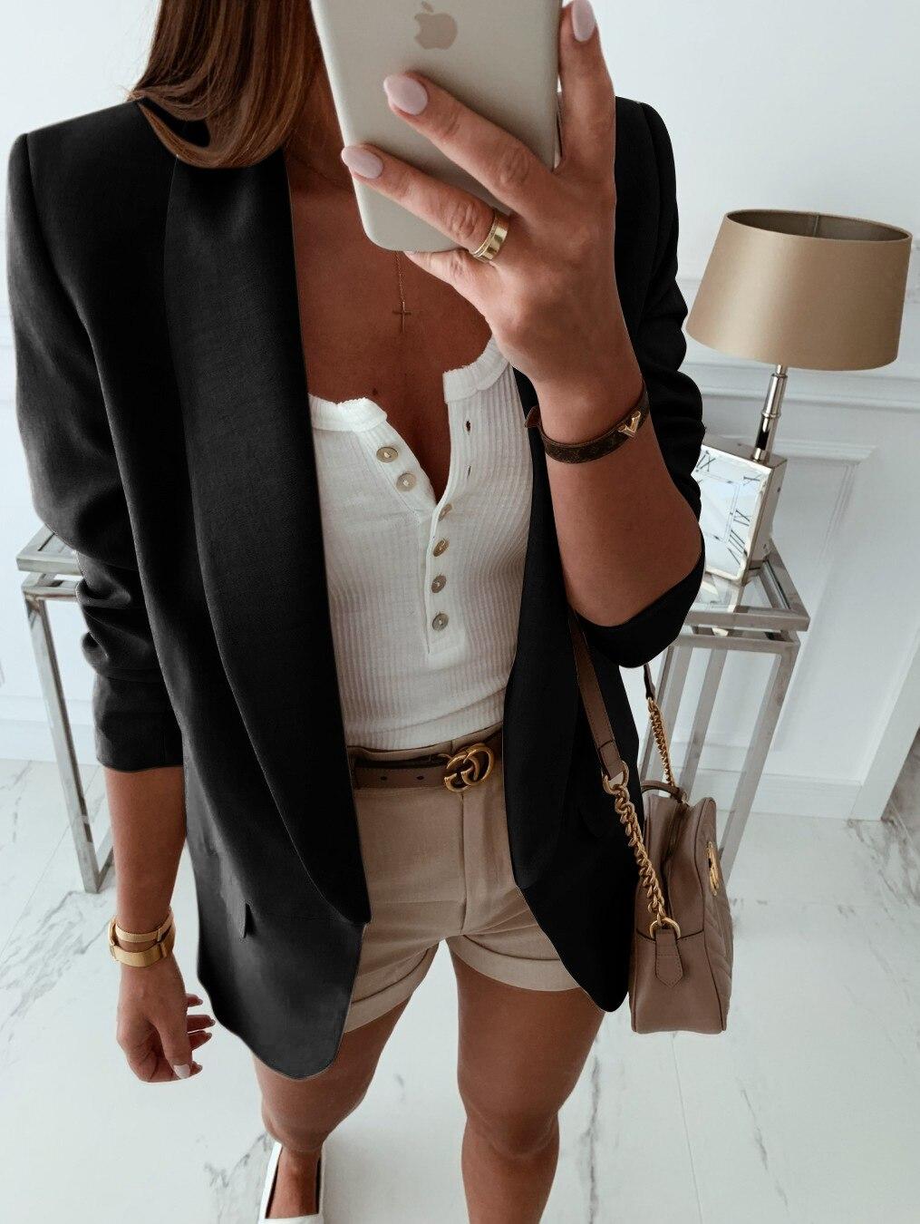 Office Lady Solid Women'S Jacket Woman Blazer 2019 Casual Notched Black Coat Women Women Jacket Blazer