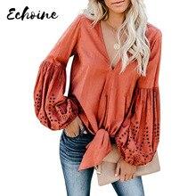 Echoine Blusa de algodón con manga larga para otoño y primavera, blusa color rojo/blanco/amarillo, con cuello de pico, S XXL grande