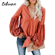Echoine Solid Red/White/Yellow Rhapsody Cotton Balloon Long Sleeve Tie Top Women Autumn Spring V Neck Plus Size S XXL Blouse