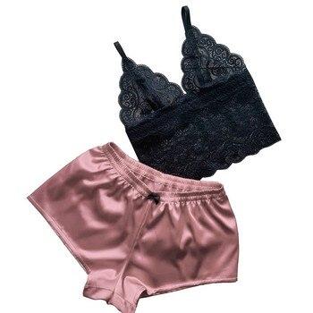 2 Pcs Underwear Set Ladies Sexy Lingerie Solid Color V-Neck Lace Sleeveless Crop Top+Underpants Shorts for Women Exotic Sets red lace details v neck lingerie sets