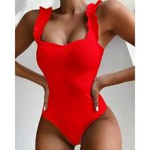 EVISPORTS 2021 Nouveau Sexy Femme Maillot De Bain Vintage Une Pièce À Volants Push Up Solide Rouge Maillots De Bain Femmes Monokini Rembourré Maillots de bain