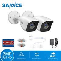SANNCE-sistema de vigilancia de seguridad, cámara de 2MP, 1080P, HD, corte infrarrojo, visión nocturna, grabación de Audio, carcasa impermeable, Kit de cámara, 2 uds.