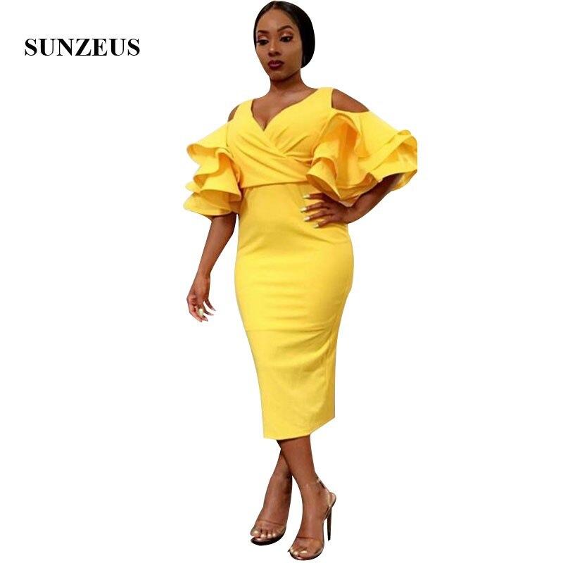 Gaine thé longueur jaune robe de soirée pour les femmes africaines volants demi manches robes de bal col en v vêtements de cérémonie