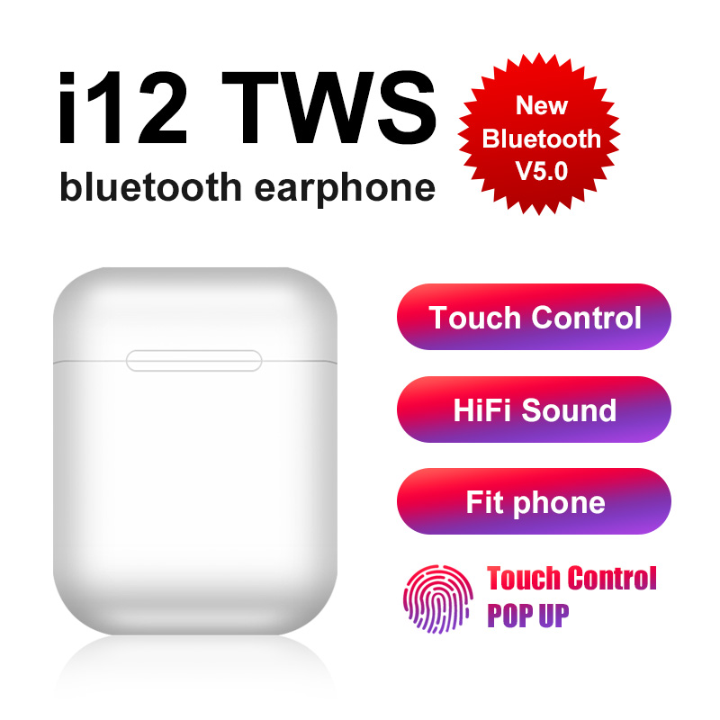 Original I12 TWS Wireless Bluetooth 5.0 Earphone Sports Sweatproof Headphone Touch Portable Earbuds For I10 I20 Tws I80