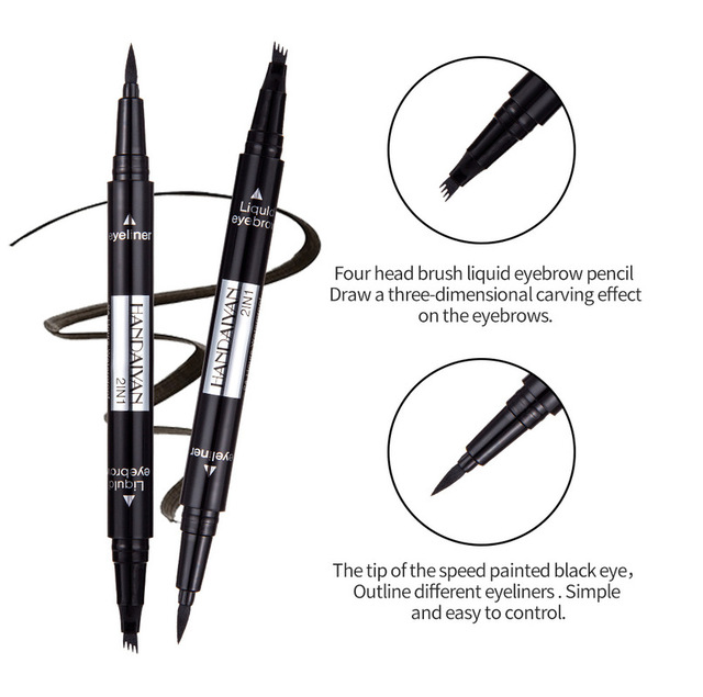 1 PC 2 in1 Double-end Liquid Eye Liner With Eyebrow Pencil Waterproof Natural Long-lasting Automatic Cosmetic Makeup Tool TSLM2 3