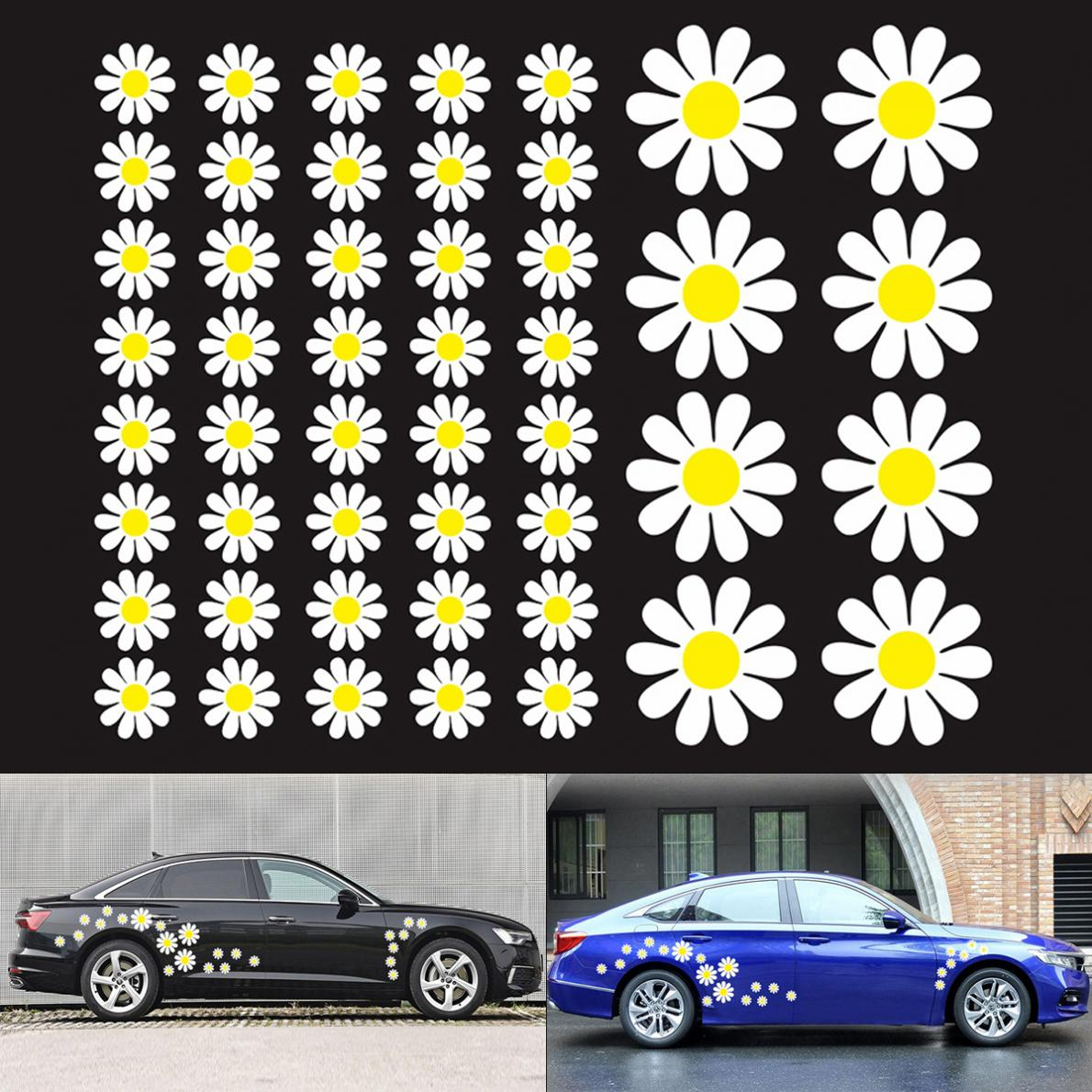 48pcs/set PVC Daisy Flower Pattern Car Stickers And Decals Personality Car Motorcycle Body Bumper Hood Scratch Sticker