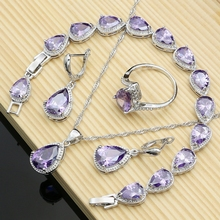 Women Silver Color Jewelry Sets Purple Drop Stone Earrings Rings Fashion Accessories Wdding Necklace Set Dropshipping water drop wedding jewelry sets bride silver color jewelry accessories bracelet necklace set for women dropshipping