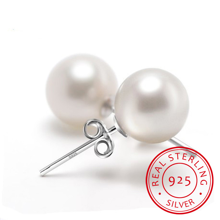 925 Sterling Silver 6mm/8mm/10mm Freshwater Cultured Pearl Button Ball Stud Earrings For Women As Best Gifts Jewerly