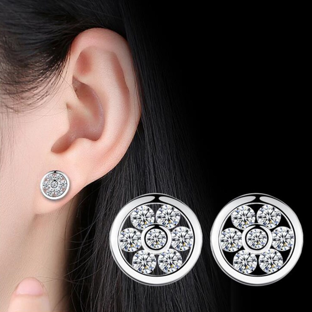 NEHZY 925 sterling silver new Jewelry Stud Earrings High Quality Double Round Purple Cubic Zirconia Silver Earrings