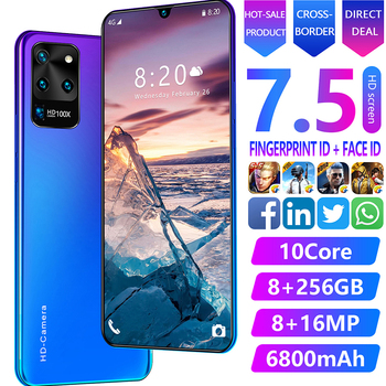 7.5 inch Galay S20 network 8GB RAM 256GB ROM Octa Core 4 Camera Snapdragon 855 smart phone With phone case Mobile Phones S20U