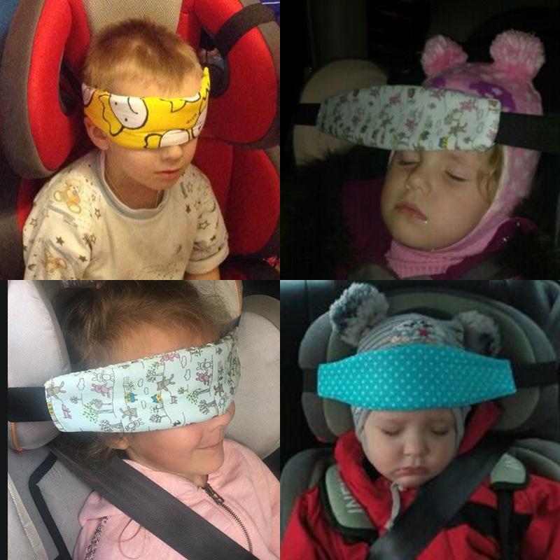 Baby Stroller Head Body Supports Infant Head Support Holder Protector Cars Safety Sleeping Eyeshade Elastic Belt Kids Travel